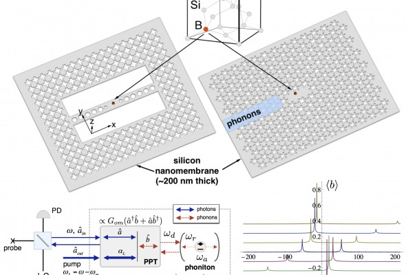 On-chip cavity quantum phonodynamics and acceptor qubits in silicon